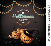 halloween party pumpkins and... | Shutterstock .eps vector #218842717