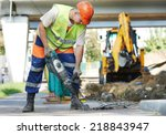builder worker with pneumatic... | Shutterstock . vector #218843947