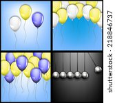 festive balloons on a blue... | Shutterstock . vector #218846737