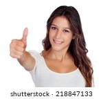 casual young girl saying ok... | Shutterstock . vector #218847133