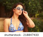 beautiful bikini woman in... | Shutterstock . vector #218847433