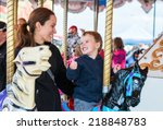 a happy mother and son are... | Shutterstock . vector #218848783