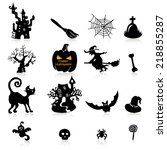 set of 16 halloween icons with... | Shutterstock .eps vector #218855287