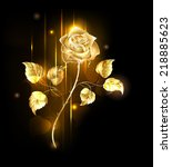 Glowing Golden Rose On A Black...