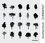 Set Of Tree Silhouettes. Vecto...
