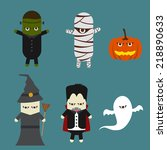 vector halloween and monster... | Shutterstock .eps vector #218890633