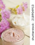 hand and face cream with pink