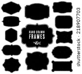 set of vintage blank frames and ... | Shutterstock .eps vector #218907703