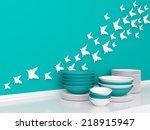 modern white and blue kitchen... | Shutterstock . vector #218915947