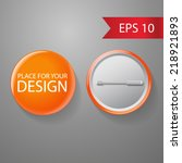 Blank Vector Orange Badge With...