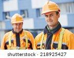 team of smiling facade builders ...   Shutterstock . vector #218925427