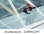 a young business couple... | Shutterstock . vector #218941297