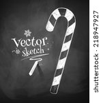 chalkboard drawing of christmas ... | Shutterstock .eps vector #218947927