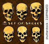vector set of 6 hand painted... | Shutterstock .eps vector #218948653