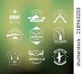 hunting club label collecton... | Shutterstock .eps vector #218963203