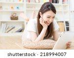 beautiful young asian woman... | Shutterstock . vector #218994007