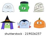 halloween characters faces set. ...