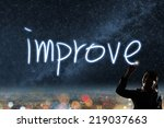 Small photo of Concept of improve, silhouette asian business woman light drawing.