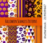 set of ten halloween seamless... | Shutterstock .eps vector #219039667