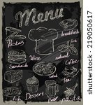 vector chalk menu and food on...   Shutterstock .eps vector #219050617