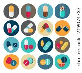 colorful pills and capsules icon | Shutterstock .eps vector #219074737