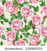 watercolor pink rose flowers... | Shutterstock . vector #219085513