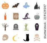 vector set of color halloween... | Shutterstock .eps vector #219129247