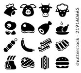 meat black icon set isolated ...   Shutterstock .eps vector #219160663