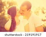 young couple kissing in the... | Shutterstock . vector #219191917