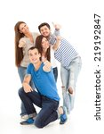 four friends standing and... | Shutterstock . vector #219192847