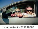 little pretty girl and cute boy ... | Shutterstock . vector #219210583