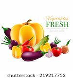 food fresh vegetables realistic ... | Shutterstock .eps vector #219217753