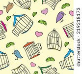 birds and bird cages. seamless... | Shutterstock .eps vector #219218173