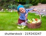 portrait of little girl with... | Shutterstock . vector #219243247