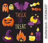 trick or treat elements vector... | Shutterstock .eps vector #219286357