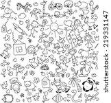 children's drawings  | Shutterstock .eps vector #219331147