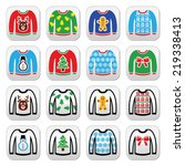 ugly christmas sweater on... | Shutterstock .eps vector #219338413