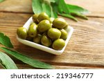 Green Olives In Bowl With...