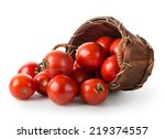 tomatoes in a basket isolated... | Shutterstock . vector #219374557
