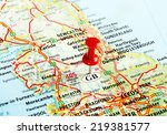 close up of  great britain  map ... | Shutterstock . vector #219381577