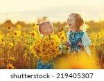 two cute little laughing girls... | Shutterstock . vector #219405307