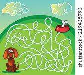 cute dog's maze game  help dog... | Shutterstock .eps vector #219435793