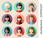 set of circle flat icons with... | Shutterstock .eps vector #219455137