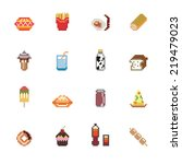 food and drinks pixel icons | Shutterstock .eps vector #219479023