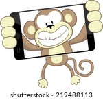 funny monkey cartoon...   Shutterstock .eps vector #219488113