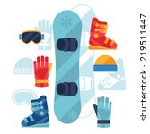 snowboard equipment icons set... | Shutterstock .eps vector #219511447