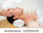 peaceful brunette enjoying a... | Shutterstock . vector #219523153