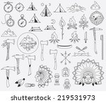survival and camping vector... | Shutterstock .eps vector #219531973