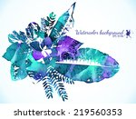 watercolor painted green and... | Shutterstock .eps vector #219560353