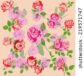 flowers roses pattern abstract... | Shutterstock . vector #219571747
